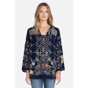 Johnny Was Luca Floral Embroidered Blouse Tunic